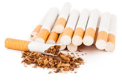 Cigarettes on white background Royalty Free Stock Photography