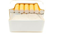 Cigarettes in white pack Royalty Free Stock Images