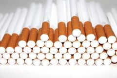 Cigarettrör på vit bakgrund Arkivbild