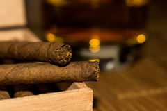 Cigarillos in a box with whiskey in the background Royalty Free Stock Image