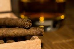 Cigarillos i en ask med whisky i bakgrunden Royaltyfri Bild