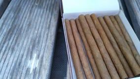 Cigarillos i en ask på en wood bänk Arkivfoto