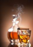 Cigarr på exponeringsglas Fotografering för Bildbyråer