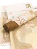 Cigarr som kostar euro 50 Fotografering för Bildbyråer