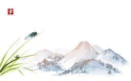 Cigarra e caracol pequeno nas folhas da grama Sumi-e oriental tradicional da pintura da tinta, u-pecado, ir-hua Hieróglifo - ilustração royalty free