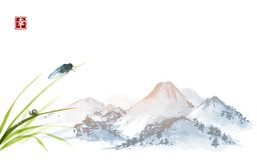 Cigarra y pequeño caracol en las hojas de la hierba Sumi-e oriental tradicional de la pintura de la tinta, u-pecado, ir-hua Jerog libre illustration