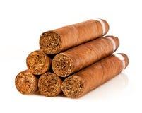 Cigarrer på en white Royaltyfri Fotografi
