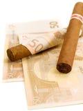 Cigarrer som kostar euro 50 Fotografering för Bildbyråer
