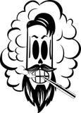Cigarrillo eléctrico del humo blanco y negro del cráneo Foto de archivo
