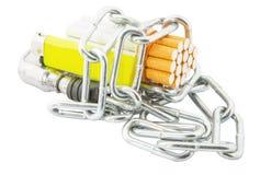 Cigarrillo, encendedor y cadenas III foto de archivo