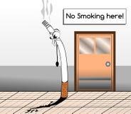 Cigarrillo triste que ve una prohibición de fumar libre illustration