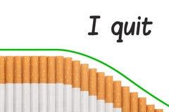 Cigarrillos del gráfico del texto Quit que fuman Imagen de archivo