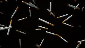 Cigarrillos que flotan en espacio contra negro stock de ilustración