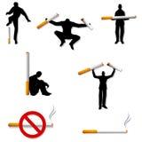 Cigarrillos salidos de la gente que fuman ilustración del vector