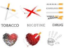 Cigarrillos y drogas ilustración del vector