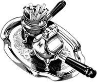 Cigarrillos y encendedor de la plata ilustración del vector