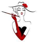 Cigarro de fumo da senhora Charming ilustração do vetor