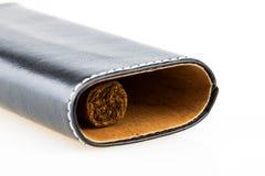 Cigarro de La Habana en el caso de cuero fotografía de archivo