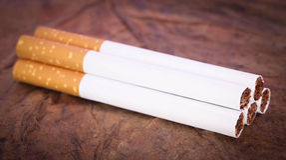 Cigarro do filtro no cigarro seco Fotografia de Stock