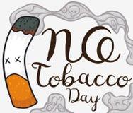Cigarro inoperante com garatujas no fumo para nenhum dia do cigarro, ilustração do vetor ilustração do vetor