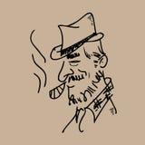 Cigarro que fuma del viejo hombre Imagen de archivo libre de regalías