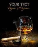 Cigarro y coñac Fotos de archivo libres de regalías