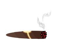 Cigarro y humo en un fondo blanco Un cigarro cubano costoso stock de ilustración