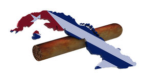 Cigarro y mapa de Cuba Imágenes de archivo libres de regalías