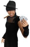 Cigarro y tarjetas del witj de la muchacha del casino aislados Foto de archivo