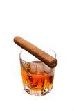 Cigarro y whisky Fotografía de archivo libre de regalías