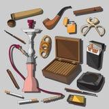 Cigarros, charutos e acessórios de fumo ilustração royalty free