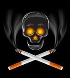 Cigarros com crânio - perigo do conceito de fumo ilustração royalty free
