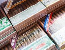 Cigarros cubanos y dominicanos en cajas de madera Fotos de archivo libres de regalías
