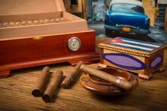 Cigarros y humidor Imagen de archivo libre de regalías