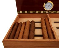 Cigars. On the tray in front of humidor. Close up Royalty Free Stock Images