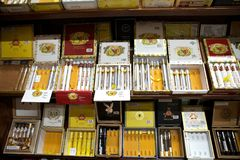 Cigars. From different brands. A cigar is a tightly-rolled bundle of dried and fermented tobacco that is ignited so that its smoke may be drawn into the mouth Stock Photo