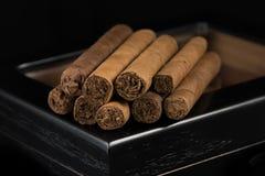 Cigars above a humidor Royalty Free Stock Photos