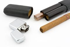 Cigars with cigar lighter 1 Stock Photo