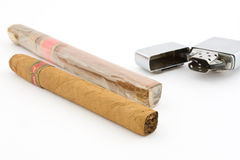 Cigars with cigar lighter 2 Royalty Free Stock Images