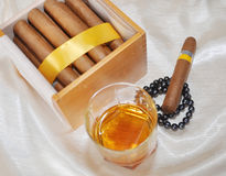 Cigars, cognac and pearls Stock Images