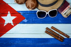 Cigars and hat with sun glasses Royalty Free Stock Photos