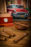 Cigars and humidor Royalty Free Stock Photography