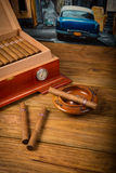 Cigars and humidor Stock Photography
