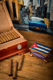 Cigars and humidor Stock Image