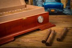 Cigars and humidor Stock Image
