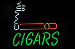 Cigars Neon Smoking Sign Royalty Free Stock Image