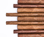 Cigars in a row. With space for text. Close-up background Stock Photo