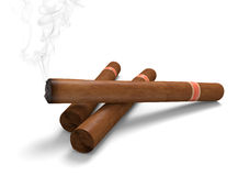 Cigars on a white background, with one emitting smoke. Group of cigars rendered in 3D. One is lit and producing smoke Stock Photos