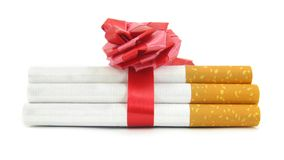Cigars wrapped with red ribbon Stock Photography