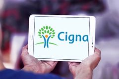 Cigna health organization logo. Logo of Cigna health organization on samsung tablet . Cigna is an American worldwide health services organization stock photography